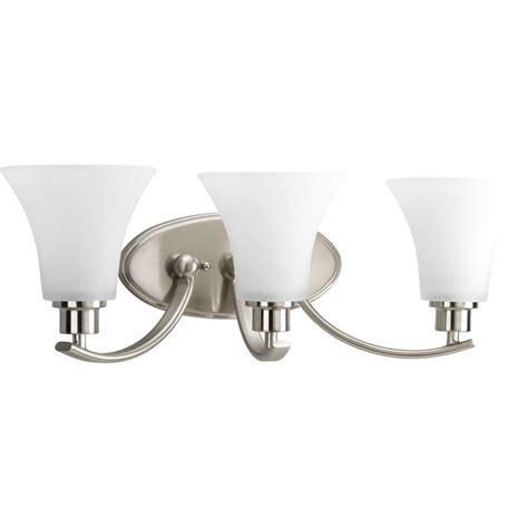 Vanity Light Fixture by Progress Lighting Collection Brushed Nickel 3 Light Vanity Fixture The Home Depot Canada