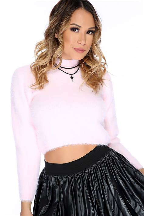 light pink mock neck long sleeve cropped sexy pullover