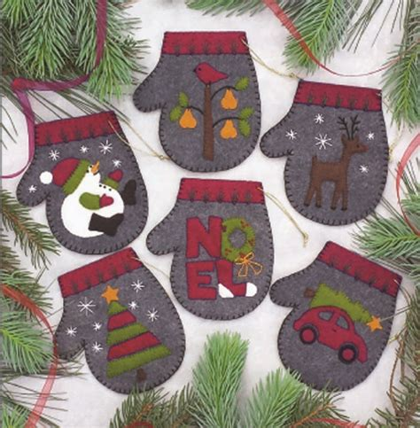 wool felt ornaments for christmas charcoal mittens