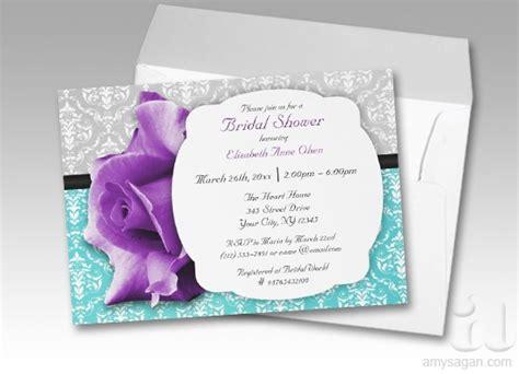purple teal damask bridal shower invitations bridal