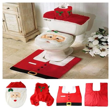 santa claus bathroom set zyt christmas santa claus toilet tank lid cover mats