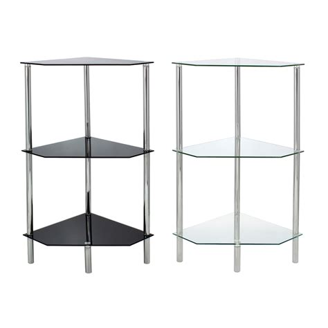 Corner Glass Shelf Unit by Glass Corner Shelf Shelving Unit Display Bathroom End