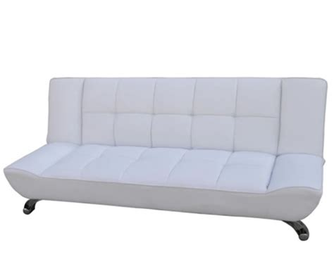 vogue 110cm white faux leather clic clac sofa bed