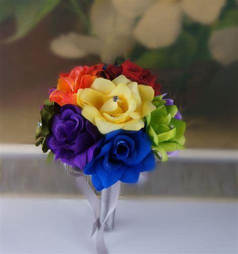 Rainbow Green 8 quot wedding bouquet bridesmaid toss flower rainbow