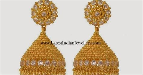 gold cz jhumka earring designs