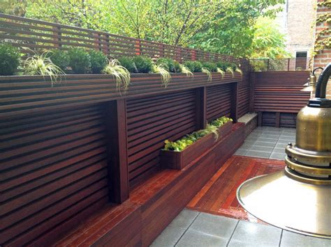 Deck Planters For Privacy by Chelsea Nyc Terrace Wood Fence Deck Patio Privacy