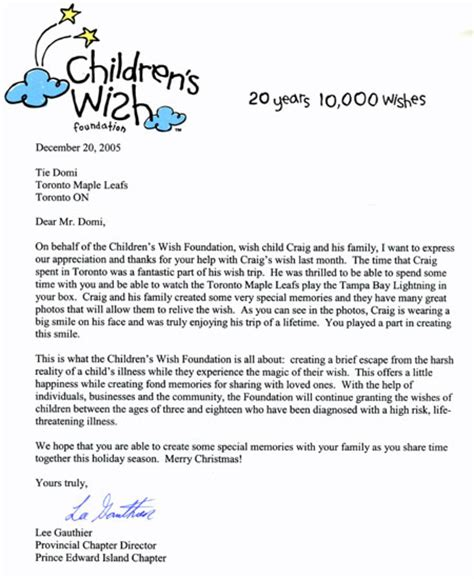 letter of authority from charity children s wish foundation tie domi