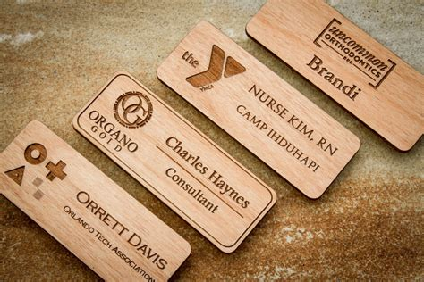 Handmade Name Badges - wood name badge custom name badges engraved name tag with