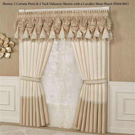 light cream curtains elegante sequined tuck valance window treatment