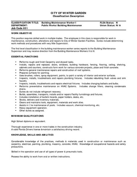 Sle Resume Of Electrician Maintenance Sle Resume Construction Worker Attendance Sheet Excel Template