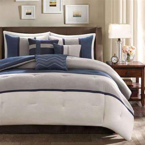 Modern Sets by Soft Blue Chic Modern Grey Navy Charcoal Comforter Set
