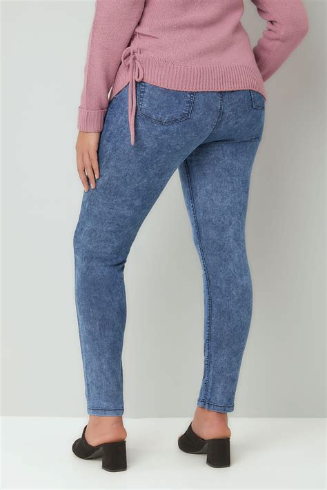 Jegging Stretch By Conba Id blue acid wash jeggings plus size 16 to 36