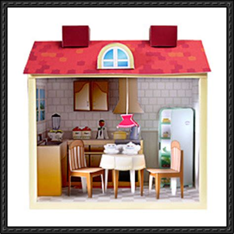 Papercraft Cafe - kitchen papercraftsquare free papercraft