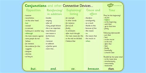 using the right conjunctions and connective phrases