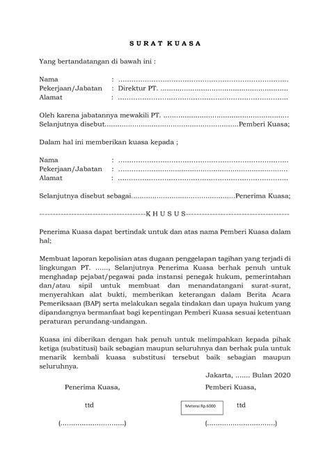 Contoh Surat Kuasa Beserta Penjelasannya - Bukti Hukum