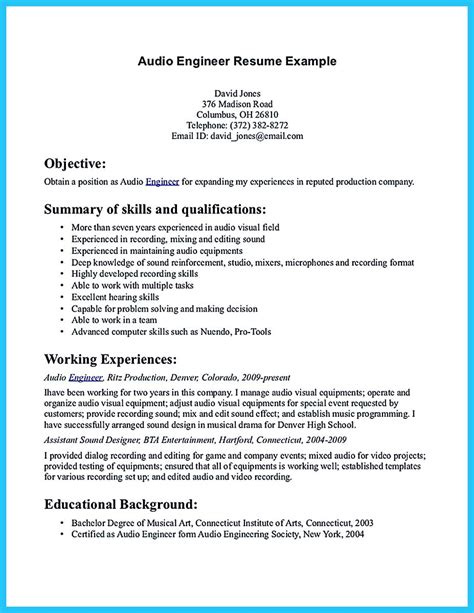 Audio Engineer Resume by Crafting A Representative Audio Engineer Resume
