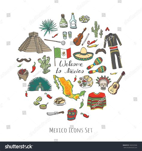 doodle 4 united states doodle mexico set vector illustration sketchy