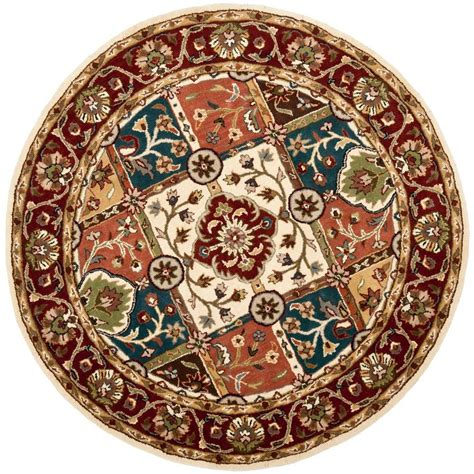 safavieh heritage accent rug in red multi hg926a 2 safavieh heritage multi red 3 ft 6 in round area rug
