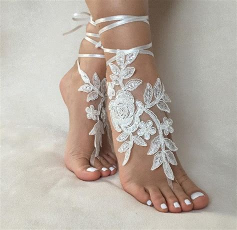Lace Sandals Wedding by Free Ship Ivory Foot Jewelry Lace Sandals Wedding