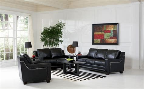 Black Leather Living Room Sets Finely Leather Living Room Set In Black Sofas