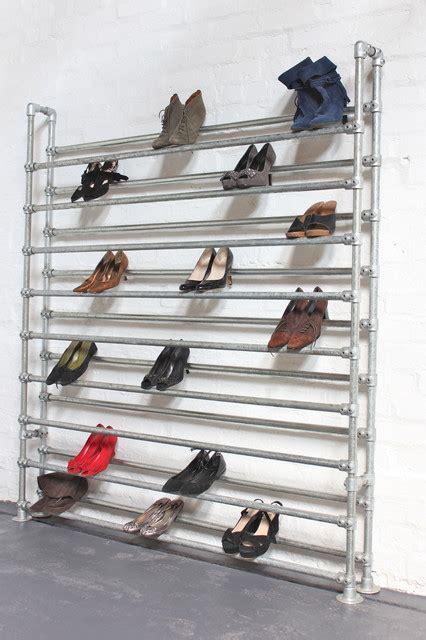 commercial shoe storage large galvanised steel pipe shoe rack fixture