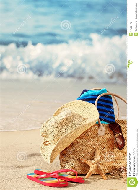 Summer beach bag on sandy beach royalty free stock image image 17555476