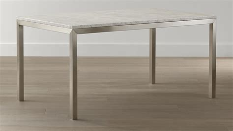 crate and barrel parsons dining table marble top stainless steel base parsons dining tables