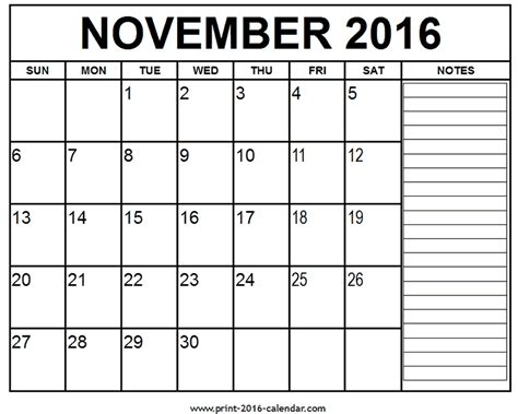 printable monthly calendar november printable november 2016 calendar
