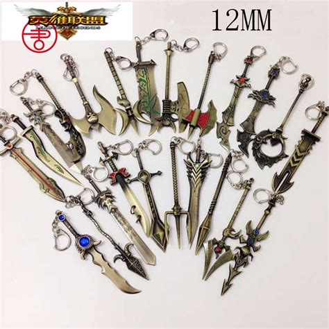 Keychain Lol League Of Legend 6 new league of legend charm weapons keychain with adc jungle mid support pendant fit necklace