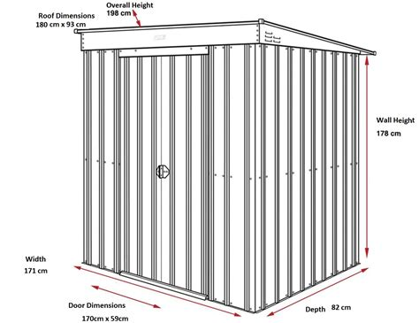 6x3 Metal Shed by Lotus 6x3 Pent Metal Shed Slate Grey