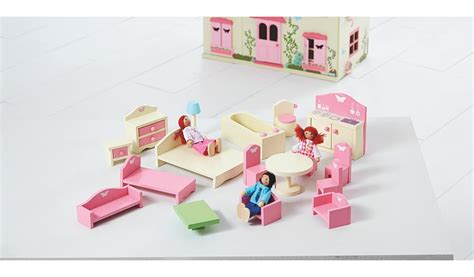 wooden dolls house furniture set george home wooden doll house furniture set kids george at asda