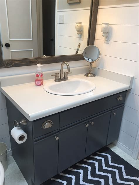 bathroom update how to paint laminate cabinets the