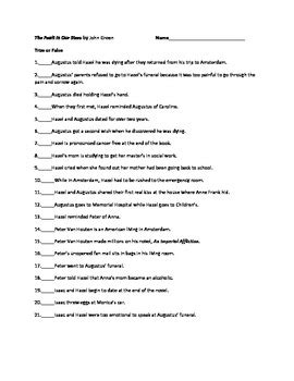The Fault in Our Stars by John Green Objective Test with