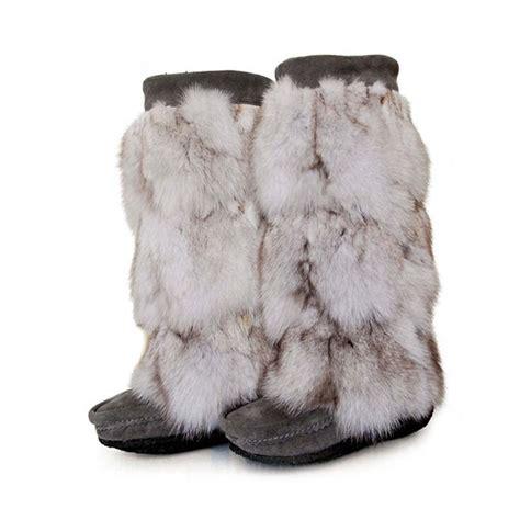 fur boots mukluks indian luxury glamorous big fox fur stitching