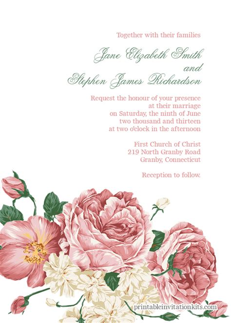 Flower Invitation Template Invitation Template Floral Wedding Invitation Template