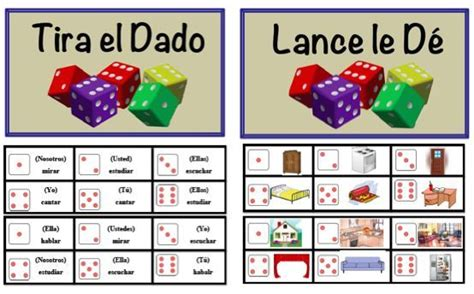 printable verb dice foreign language speaking activity with dice vocabulary