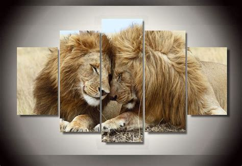lion decor home framed canvas prints leo lion big wall painting art