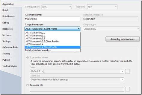 visual studio 2010 reset project settings setting the right target framework for a net project in