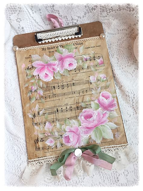 shabby chic clip clipboard shabby chic standard clip board painted roses