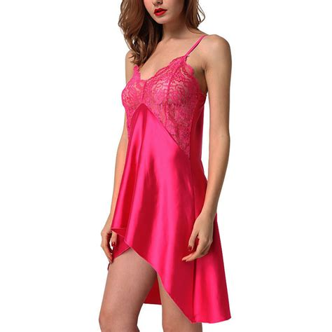 Babydoll Camisole Dress Sleepwear Ls001 s satin robes lace dress babydoll