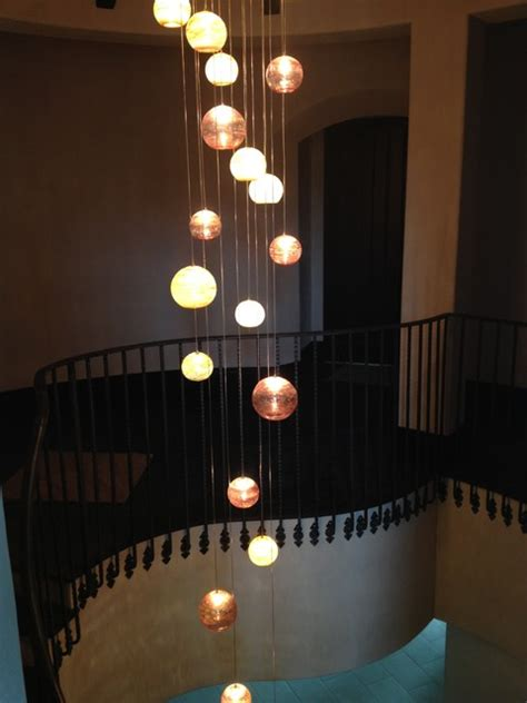 Kitchen Lighting Ideas Over Table Fireball Blown Glass Chandelier Traditional Staircase