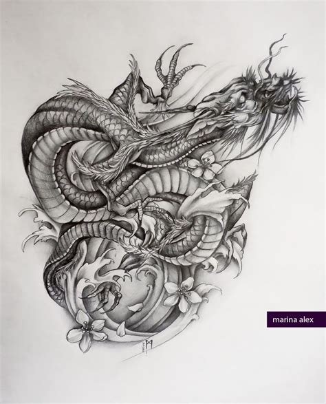 asian dragon tattoo asian sketch by marinaalex