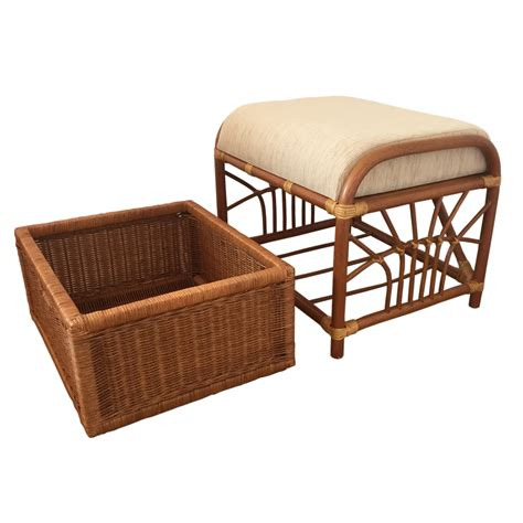 Furniture: Traditional Rattan Ottoman With Wicker Storage