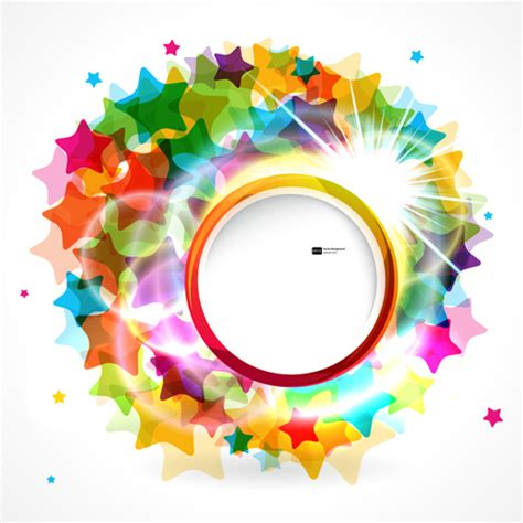 colorful round wallpaper shiny round with colored stars background vector free