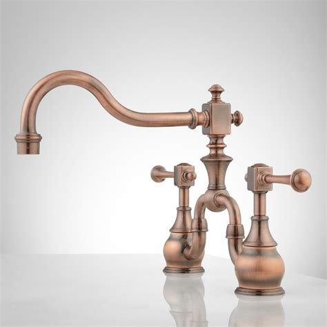 Copper Kitchen Faucet Vintage Bridge Kitchen Faucet Lever Handles Kitchen