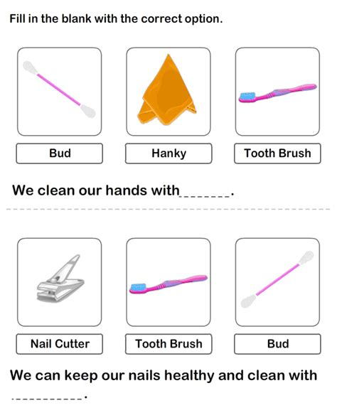 personal hygiene worksheet for kindegarten kindergarten