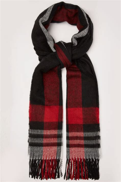 Scarf Black black check oversized blanket scarf with tassels