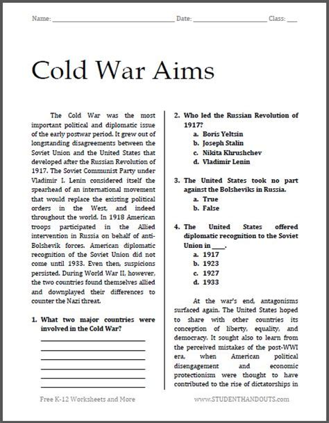 Worksheets For High School by Cold War Aims Free Printable Worksheet For High School