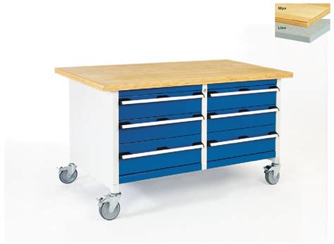 mobile bench storage bench with 6 drawers 1500mm wide csi products