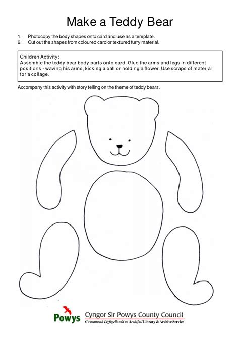 best photos of teddy cut out template cut out